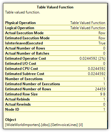 Атрибут Estimated Number of Rows оператора Table Valued Function